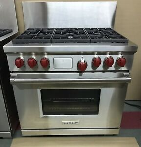 """WOLF DF366 36"""" inch Dual Fuel Legacy Model 6 Burner Stainless Range w/ Red Knobs"""