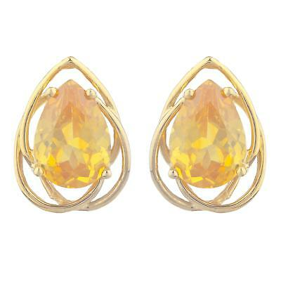 14Kt Yellow Gold Plated Orange Citrine Pear Teardrop Design Pendant