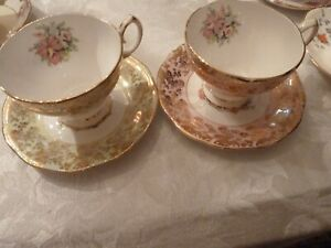 2-Queen-Anne-Bone-China-England-Floral-Pink-Gold-amp-green-gold-Tea-Cup-amp-Saucers