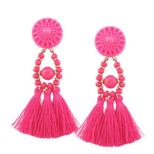 Femmes Bijoux Strass Long Tassel Dangle Boucles d/'oreilles Frange Boucles d/'oreilles pendantes