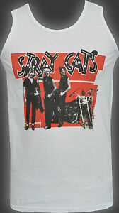 MENS VEST TANK STRAY CATS ROCKABILLY BRIAN SETZER ROCK & ROLL MOTORBIKE S-5XL