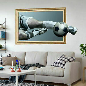 3D Soccer Ball Football Wall Sticker Decal Kids Bedroom Home Room Decor  Sport