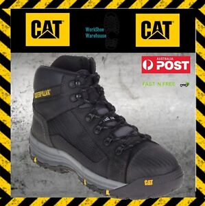 10a7be2662d Details about NEW! Caterpillar CAT Convex P720055 Black Steel Toe Cap Mid  Safety Zip Side Boot