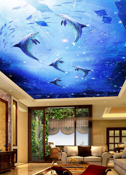 3D Dolphin 56 Ceiling WallPaper Murals Wall Print Decal AJ WALLPAPER US