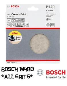 Bosch-Random-Orbit-Sanding-Discs-M480-Net-Wood-Paint-150mm-Pk-5-ALL-GRITS