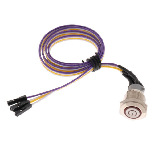 1Pcs 16mm Computer DIY Chassis Switch With 60cm//23.6/'/' Power Cable Lead