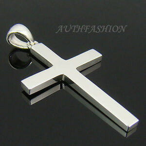 Mens sterling silver 925 simple cross pendant plain for necklace image is loading mens sterling silver 925 simple cross pendant plain aloadofball Image collections