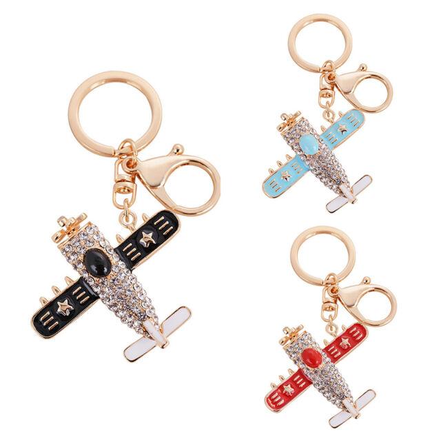 Women Fashion Airplane Rhinestones Keychain Key Ring Bag Hanging Ornament Gift B