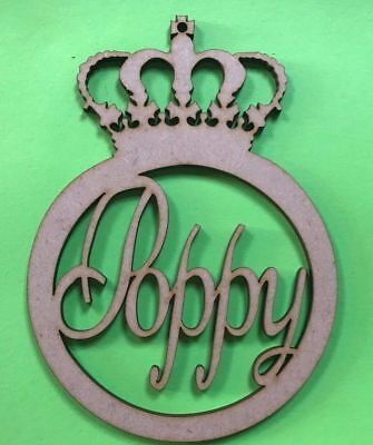 personalised crown bauble wand in 4mm mdf 300 x 100mm