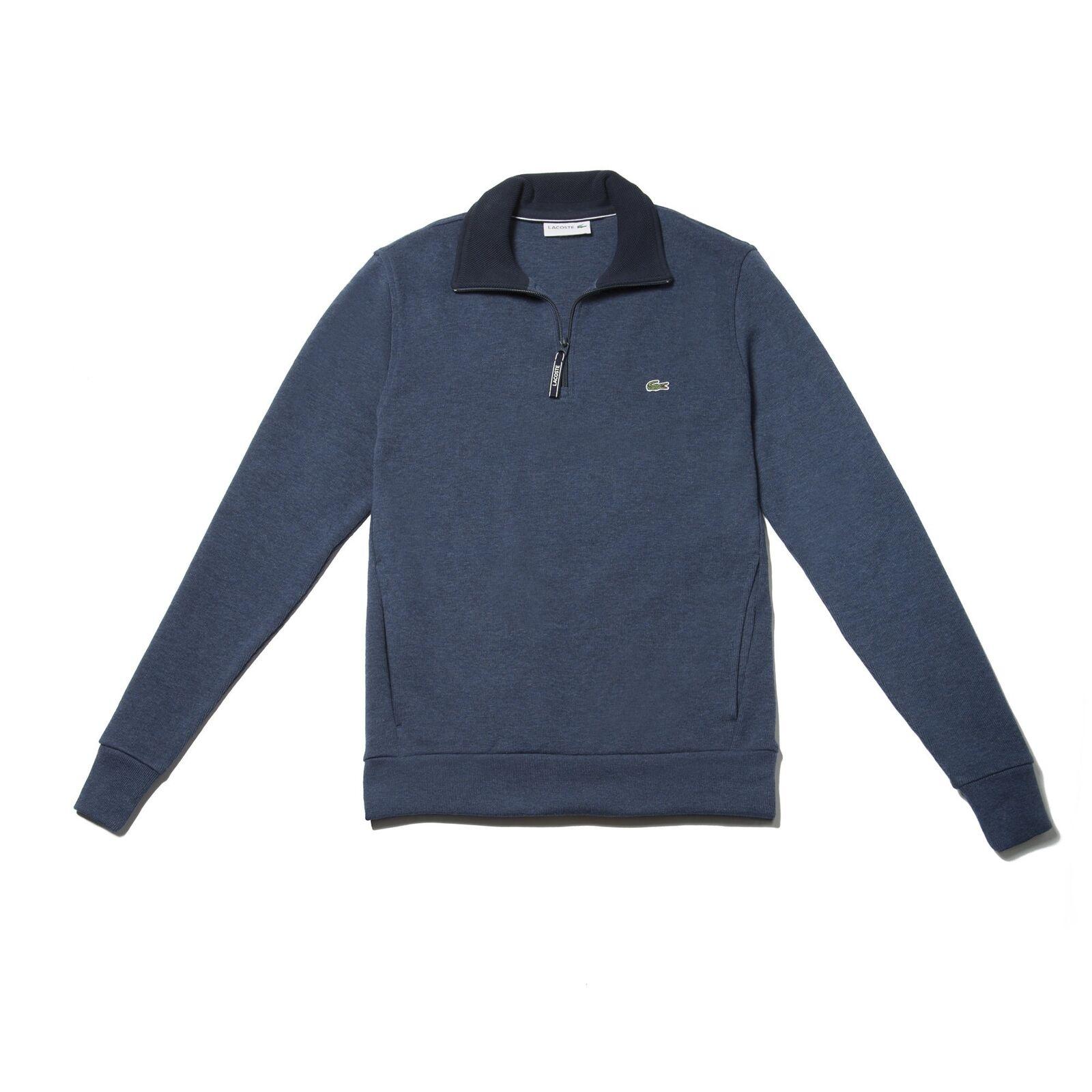 Lacoste Ribbed Quarter Zip Cotton Sweatshirt Anchor Blau  Herren Größe XL New