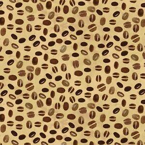 BTY Coffee Shop by Clothworks-Coffee Beans on Light Caramel B//G