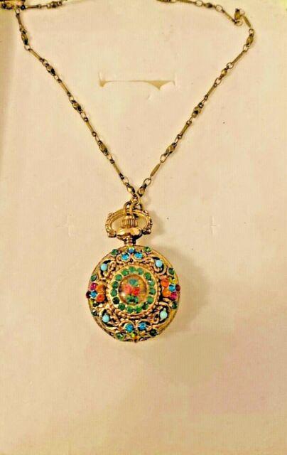 sale-Michal Negrin necklace pendant watch with multicolor Swarovski crystals