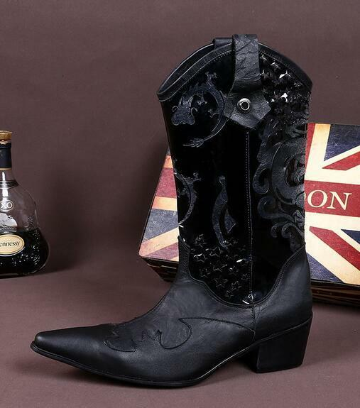 Retro Mens Leather Floral Pointed Toe Mid Heel Westen Cowboy Boots shoes Sz T48