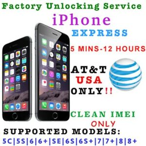 AT&T iPhone 3 4 5 5S 6 6s SE 7 8 Unlock - 5 mins to 12 hours!