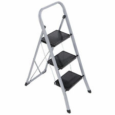 Black 3 Steps Ladder Home Use 300lbs Load Folding Anti Slip Safety Tread