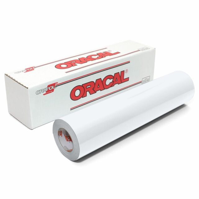 "Oracal 651 12"" x 10ft White Glossy Adhesive Vinyl Roll for Craft Sign Cutter"