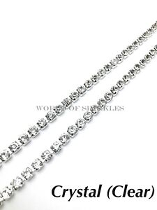 2-Metres-6mm-Chain-Rope-Rhinestone-Trim-Diamante-Silver-Crystal-Necklace-Sewing