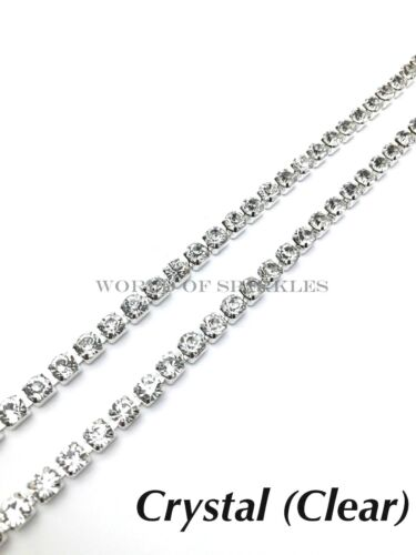 2 Metres 6mm Chain Rope Rhinestone Trim Diamante Silver Crystal Necklace Sewing