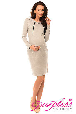 Maternity Pregnancy and Nursing Hooded Bodycon Dress with Pocket Purpless 6211