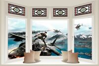 Huge 3D Bay Window Fantasy Army Fighter View Wall Stickers Wallpaper 373
