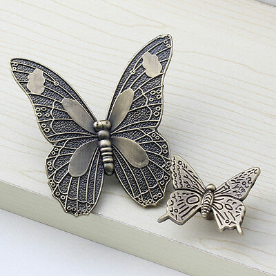Antique Butterfly Cupboard Cabinet Door Knob Cup Drawer Furniture Pull Handles