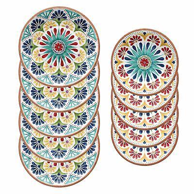 Liberale Epicurean Rio Medaglione Outdoor-plastica/melamina Cena & Lato Piastre-set Di 5-c/melamine Dinner & Side Plates-set Of 5 It-it Aroma Fragrante