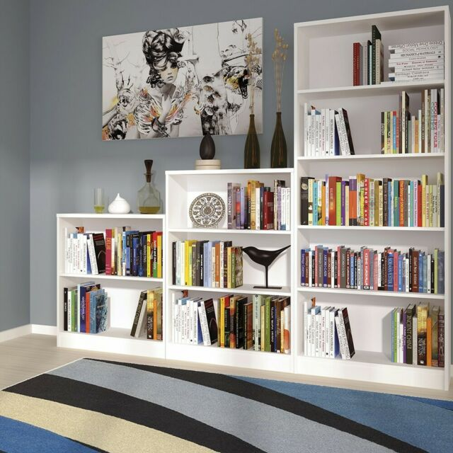 Pride Pearl White Bookcase Bookshelves Shelving-Small Large Slim Low Narrow Wide
