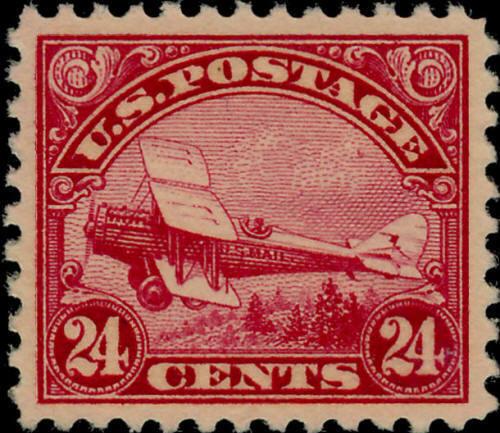 1923 24c DeHavilland Biplane, Carmine Scott C6 Mint F/V