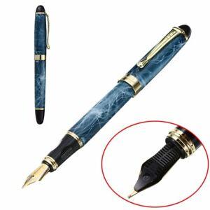 Jinhao-X450-Blue-Marble-Chunky-Medium-Flex-Nib-Fountain-Pen-For-Office-Present