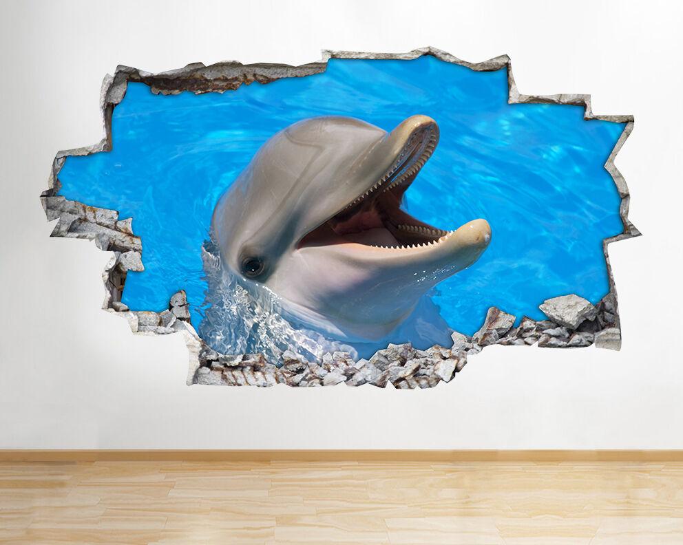 Z017 Dolphin Mar Océano Animal Nursery pegatina pared vinilo 3d habitación niños