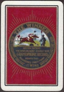 Playing-Cards-Single-Card-Old-Wide-GRAMOPHONE-RECORD-Advertising-Art-HORSE-RACE