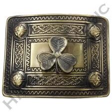 Scottish H M Kilt Belt Buckle Irish Shamrock 4 Dome Mirror Design Brass Antique