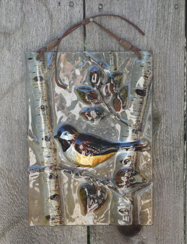 Bird on Birch Tree Glass ART SUN CATCHER Leather Hanging Strap Wall Hanging