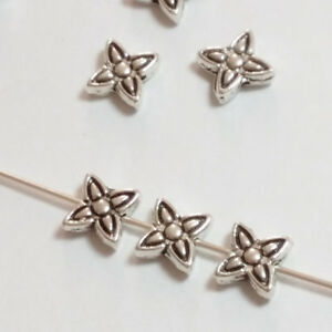 25pcs-Antique-Silver-Flower-Beads-Metal-Spacers-Jewellery-Supplies-8mm-B00467