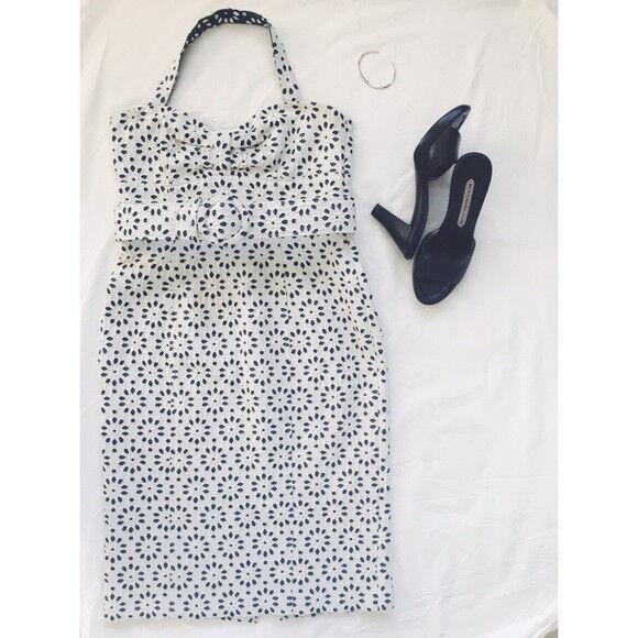 Bill Blass White & Denim Floral Strapless Dress sz 0