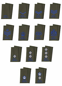Pair-of-Royal-Signals-Blue-on-Olive-Green-Rank-Slides-British-Army-All-Ranks