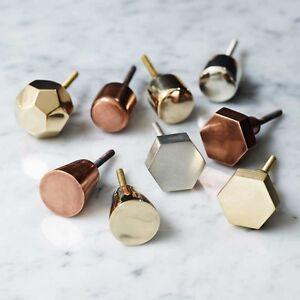 Copper Hexagon Metallic Drawer Knobs Cabinet Pulls Door Handles ...