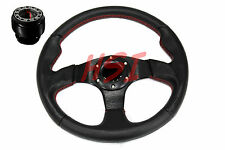 88-91 Honda Civic CRX EF  Black on Black Steering Wheel w/Red Stitching + Hub