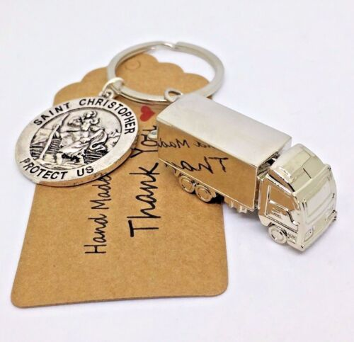 St Christopher keyring wagon truck driver gift Dad husband valentines day gift