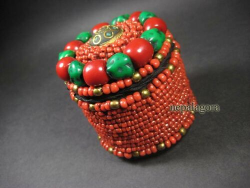 B46 TIBETAN Trinket Jewelry Box Handmade RESIN Glass BEADED Ethnic Tribal Nepal