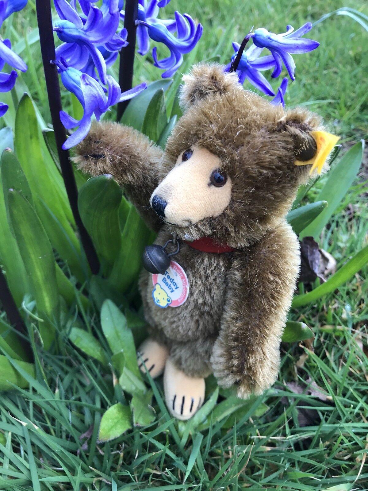 VINTAGE Steiff  Teddy Baby Orso  029721-Ear Pulsante, Etichetta, COLLARE, Jingle Bell
