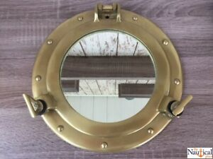 11-034-Antique-Brass-Finish-Porthole-Mirror-Nautical-Maritime-Wall-Decor-Window