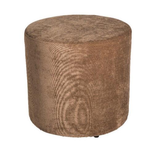 Amaris ElementsSofa Hocker rund Stoff braun Samt 45x45 Sitzwürfel Fußhocker