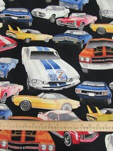 "100% COTTON FABRIC BY ALEXANDER HENRY - Pure Muscle - 45"" WIDE BY THE YARD CARS"