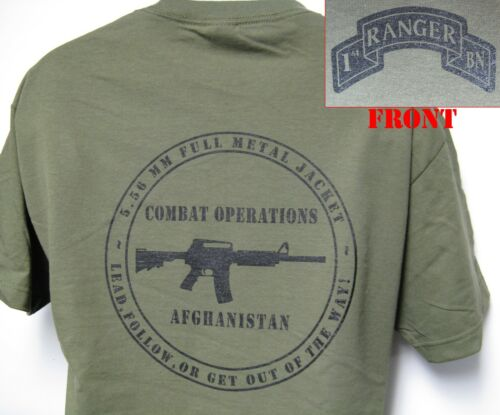 1st RANGER BN T-SHIRT// MILITARY// AFGHANISTAN COMBAT OPS// ARMY// NEW