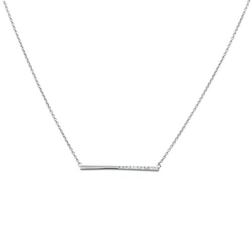 ".09ct F SI 14k White Gold Diamond Bar Pendant Necklace 18/"" 2 Ext."