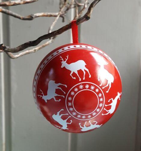 Scandinave Rouge Fer Blanc Renne Babiole//Boîte Cadeau Gisela Graham Nordic Yule
