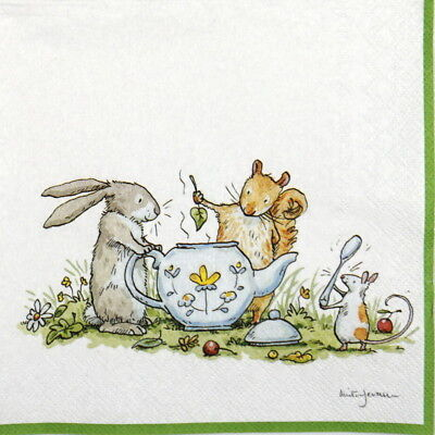 4x Paper Napkins Bunnies for Party Decoupage Craft