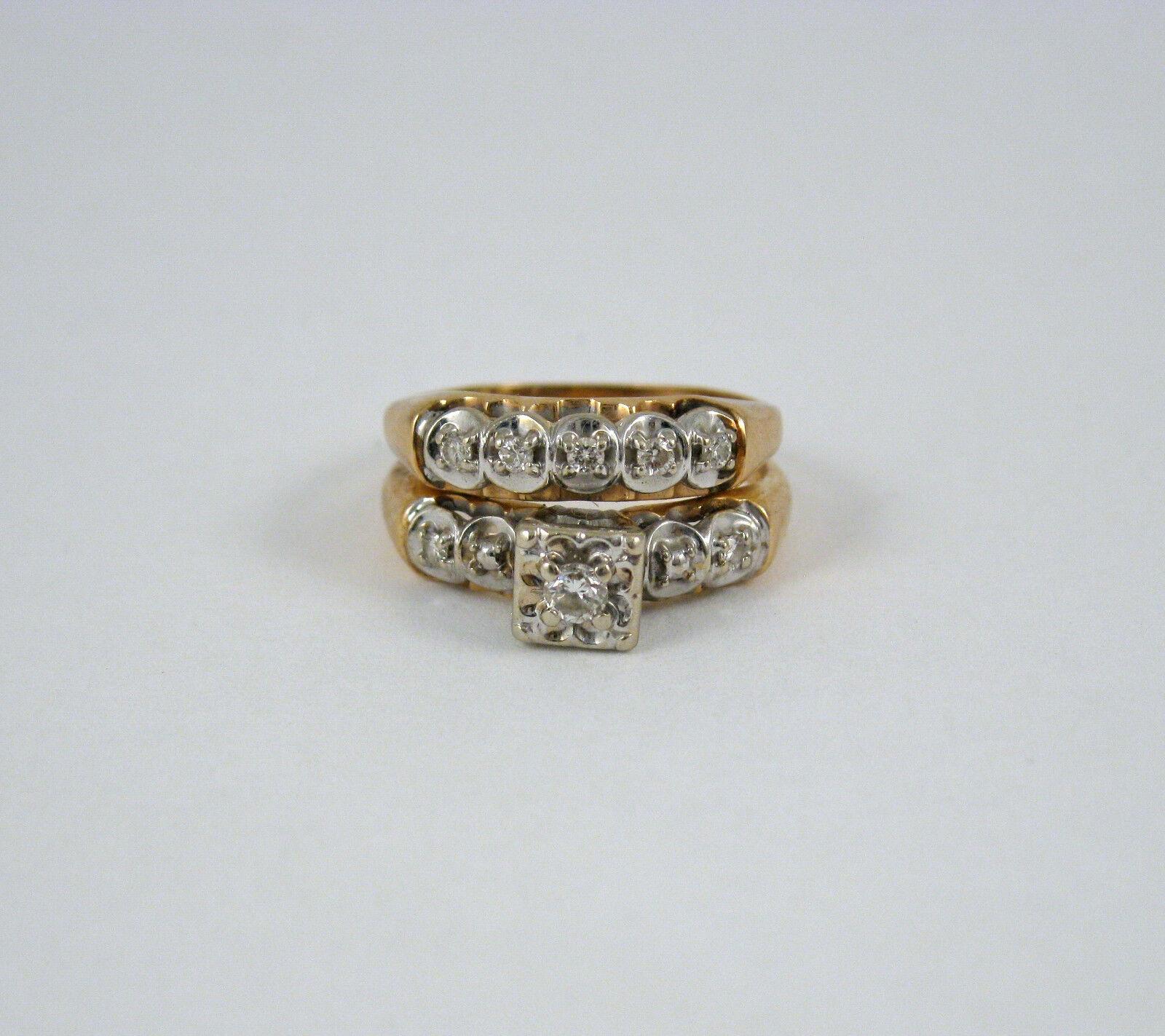 Antique 14k gold .25CTW Diamond Engagement Wedding Ring Set Size 6.5