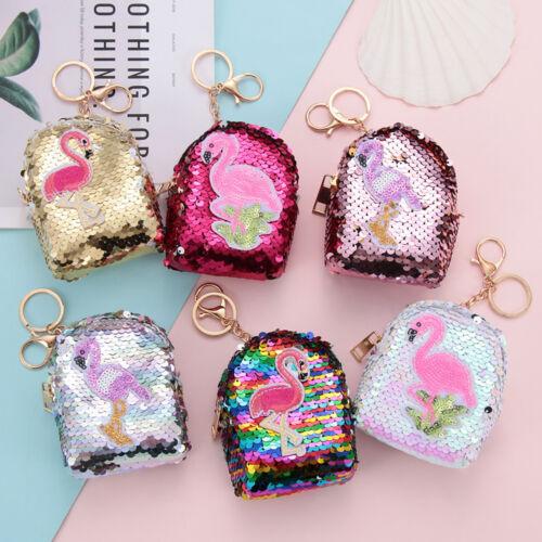Women Sequins Coin Purse Women Kids Mini Flamingo Backpack Wallet Keys Pouch
